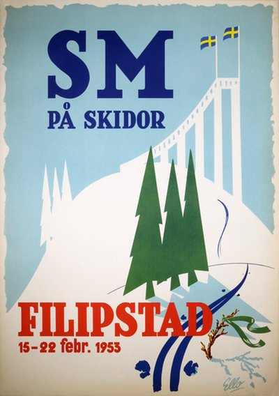 SM Skidor Filipstad 1953 poster designed by Ello
