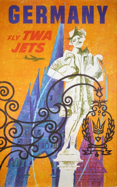 TWA Germany  original poster designed by Klein, David