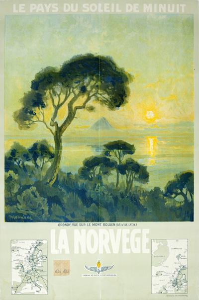 original vintage poster la norvege le pays du soleil de