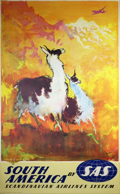 by SAS - South America - Lamas poster designed by Nielsen, Otto (1916-2000)
