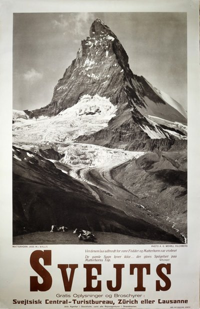 Switzerland - Matterhorn Zermatt original poster designed by Photo: A. G. Wehrli, Kilchberg