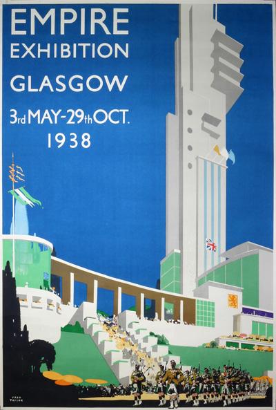 Original Vintage Poster Empire Exhibition 1938 Glasgow