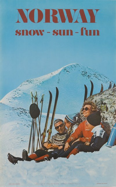 Norway Ski Poster Snow Sun Fun 1970 poster designed by Photo: Sohlberg