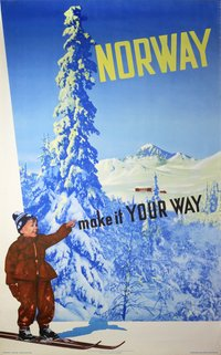 Norway  Make it Your Way ski poster vintage