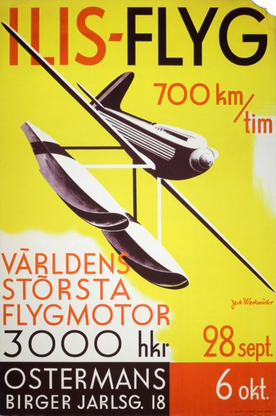 ILIS FLYG 1934 - International Aviation Exhibition in Stockholm original poster designed by Werkmäster, Jerk (1896-1978)
