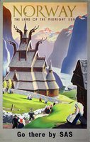 Norway Land of the Midnight Sun travel poster vintage