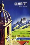 Champery Valais Suisse vintage travel poster