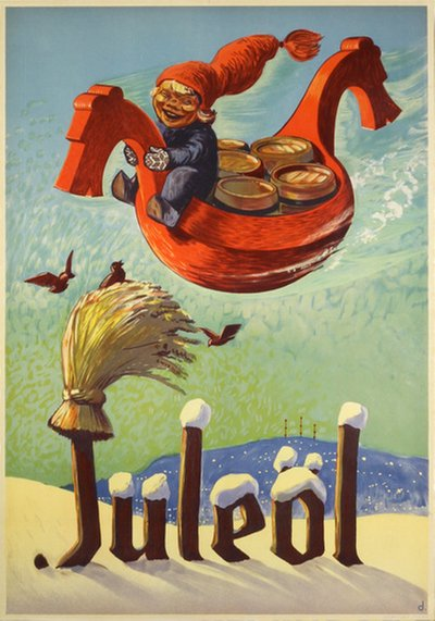 Juleöl - Christmas Beer original poster designed by Damsleth, Harald (1906-1971)