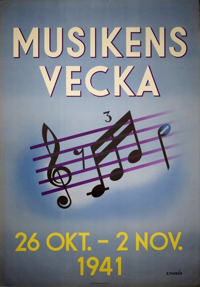 Musikens Vecka 1941 original poster designed by E. Thoren