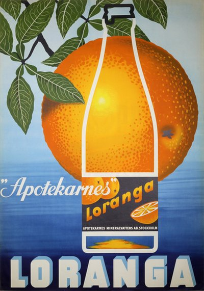 Apotekarnes Loranga Soft Drink poster designed by Virin, Carl A. (1906-1983)