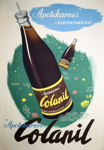 Apotekarnes Colanil Cola Soft Drink original poster designed by Virin, Carl A. (1906-1983)