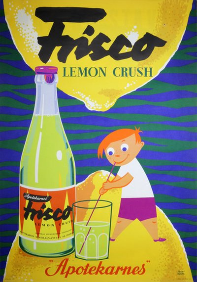 Apotekarnes Lemon Crush Soft Drink poster designed by Roupe, Jerry (1919-2005)