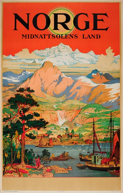Norge - Midnattsolens Land original poster designed by Christensen, Arent Lauritz (1894-1982)