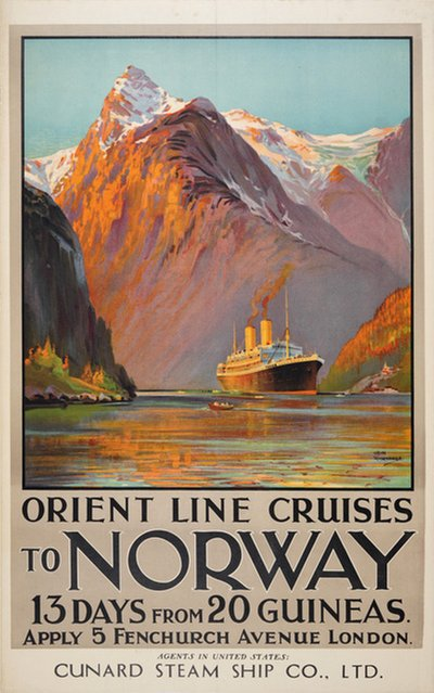 Orient Line Cruises to Norway poster designed by Rosenvinge, Odin (1880-1957)