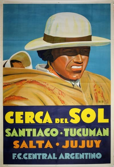 Original Vintage Poster Cerca Del Sol Santiago Tucuman
