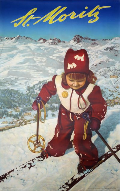St. Moritz - Switzerland original poster designed by Fredy Hilber