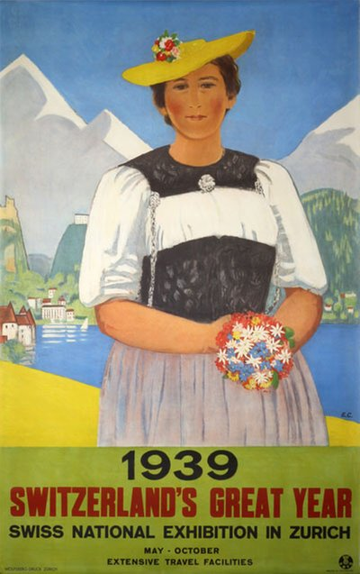 1939 - Switzerland's great year Swiss national exhibition in Zurich original poster designed by Cardinaux, Emil (1877-1936)