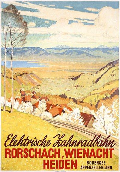 original vintage poster elektrische zahnradbahn rorschach