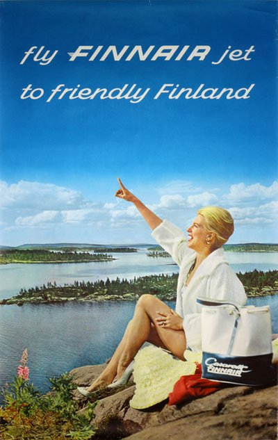 Fly Finnair jet to Friendly Finland original poster
