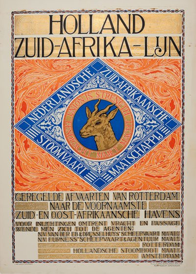 Holland South Africa Line - Holland Zuid Afrika Lijn poster designed by Tiete van der Laars (1861-1939)