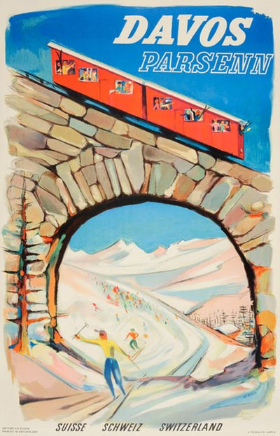 Davos Parsenn Switzerland poster designed by Borer, Albert (1910-2004)