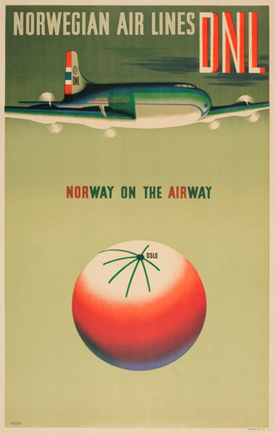 DNL Norwegian Air Lines - Norway on the Airway original poster designed by Moum, Gunnar (1907-1990)
