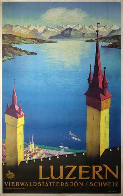 Luzern Vierwaldstättersee - Switzerland original poster designed by Landolt, Otto (1889-1951)
