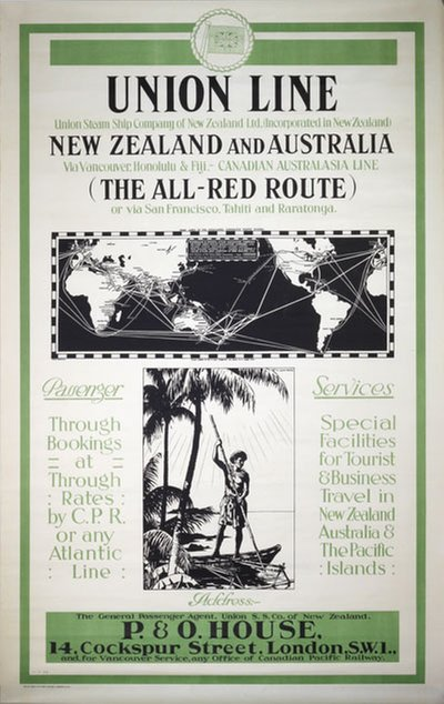 Union Line - New Zealand and Australia - All-Red Route poster designed by Gawthorn, Henry George (1879-1941)