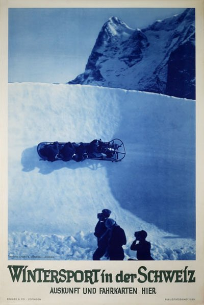 Wintersport in der Schweiz - Bobsleigh poster designed by Photo: Sport & General, London