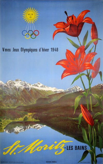 St. Moritz - Olympic Games 1948 poster designed by Photo: Steiner, Albert