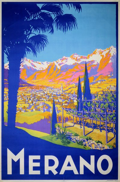 Original Vintage Poster Merano Italy For Sale At