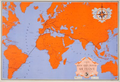 Original Vintage Poster Air France World Map For Sale At - World map for sale