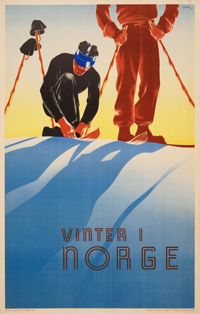 Vinter i Norge poster designed by Schenk