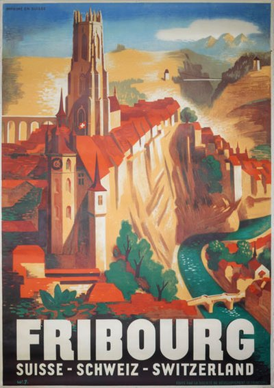 Fribourg - Switzerland original poster designed by Jordan, Willi (1902-1971)
