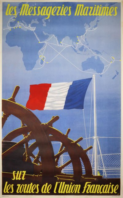 les Messageries Maritimes original poster designed by S. G.