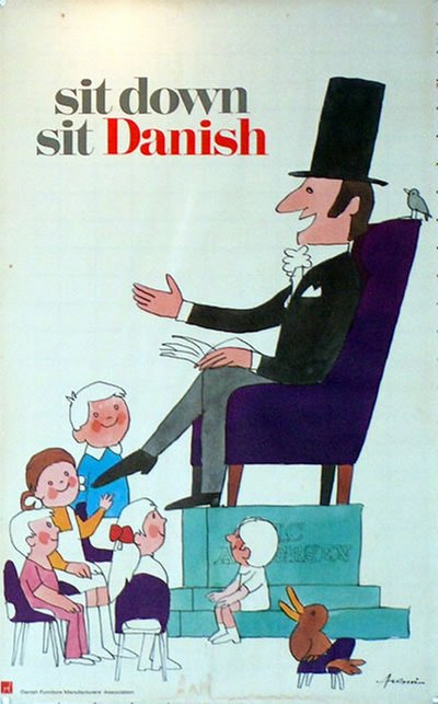 sit down - sit Danish original poster designed by Antoni, Ib (1929-1973)