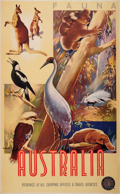 Australia Fauna  original poster designed by Northfield, James (1887-1973)