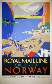 Royal-Mail-Line-Atlantis-Norway-Cruises-Percy-Padden-vintage-poster