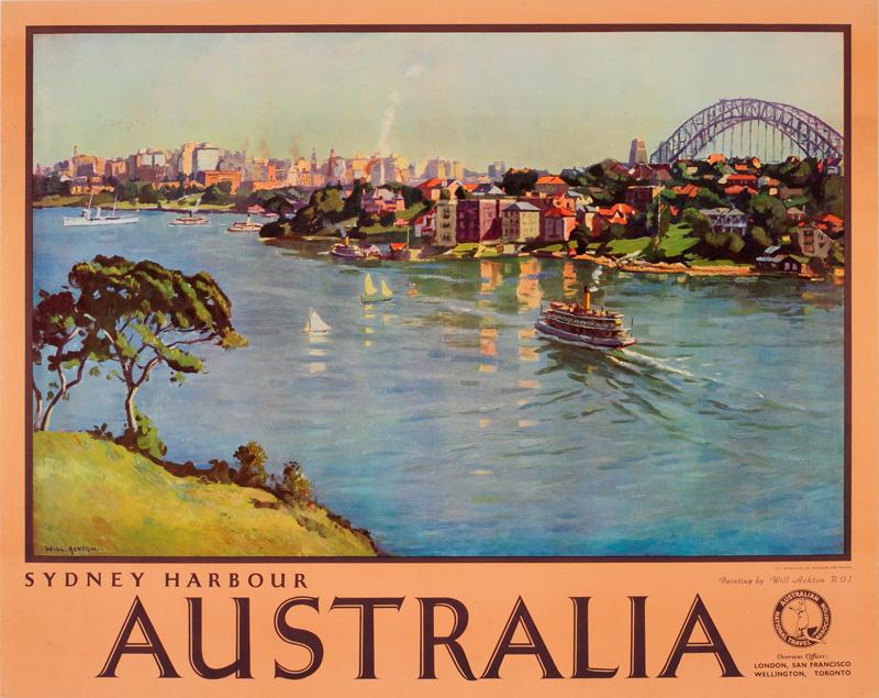 original vintage poster australia sydney for sale at. Black Bedroom Furniture Sets. Home Design Ideas