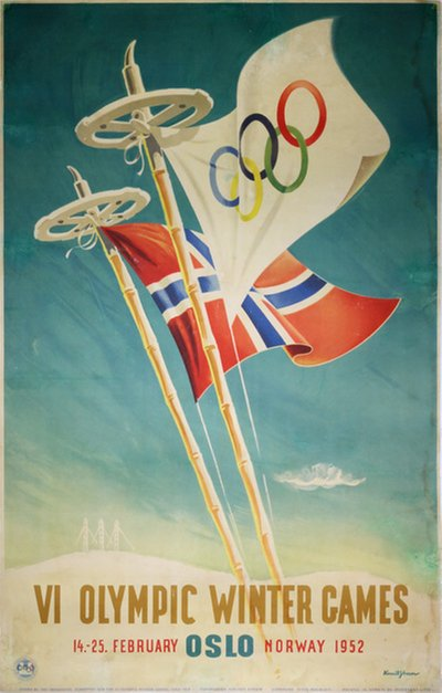 VI Olympic Winter Games Oslo 1952 original poster designed by Yran, Knut (1920-1998)