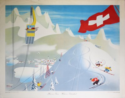 L'hiver en Suisse - Winter in Switzerland original poster designed by Hermann Eidenbenz (1902-1993)