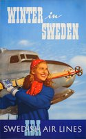 ABA-Winter-in-Sweden-Swedish-Air-Lines-vintage-original-poster