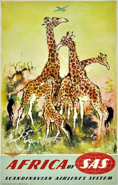 by SAS Africa Giraffe original poster designed by Nielsen, Otto (1916-2000)