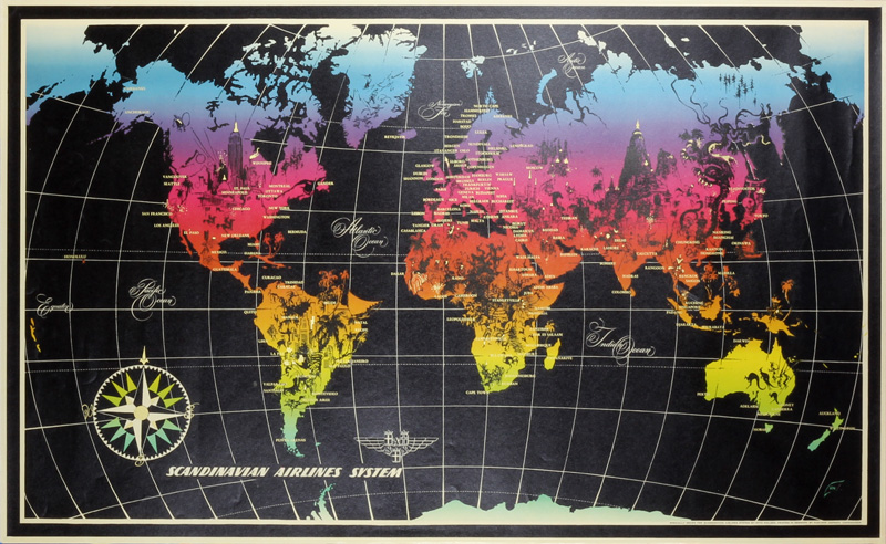 SAS World Map original poster designed by Nielsen, Otto (1916-2000)
