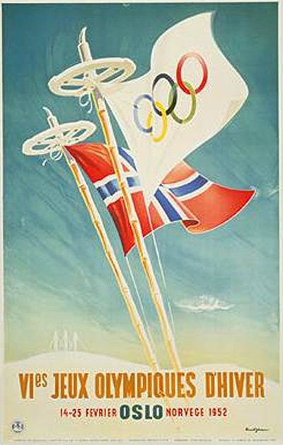 VIes Jeux Olympiques d'hiver Oslo 1952 original poster designed by Yran, Knut (1920-1998)