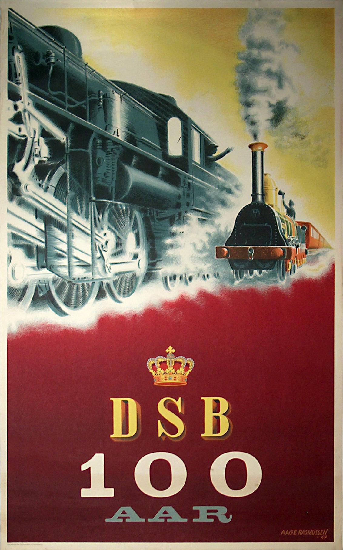 Original vintage poster: DSB 100 AAR for sale at posterteam.com