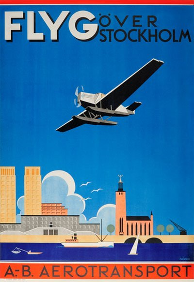 ABA - Flyg Over Stockholm poster designed by Beckman, Anders (1907-1967)