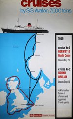 British-Rail-SS-Avalon-Cruises-Norway-North-Cape-1969-original-poster