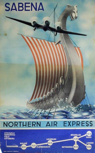 Original vintage poster: Sabena Northern Air Express for