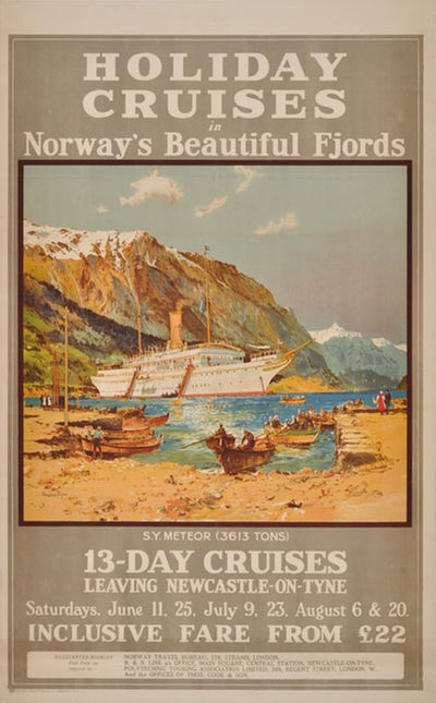 Holiday Cruises in Norway fjords original poster designed by Dixon, Charles Edward (1872-1934)